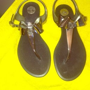 ‼️USED 2x BCBG SILVER JELLY THONG SANDALS‼️